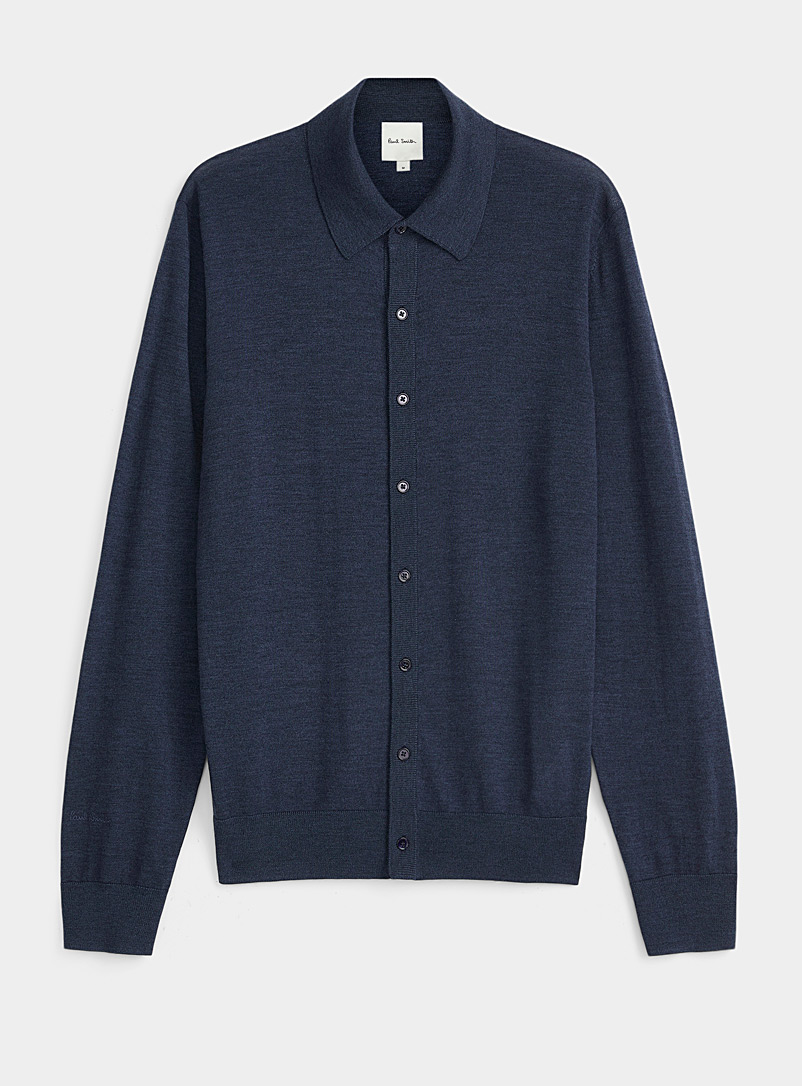 Paul Smith Blue Merino wool polo cardigan for men