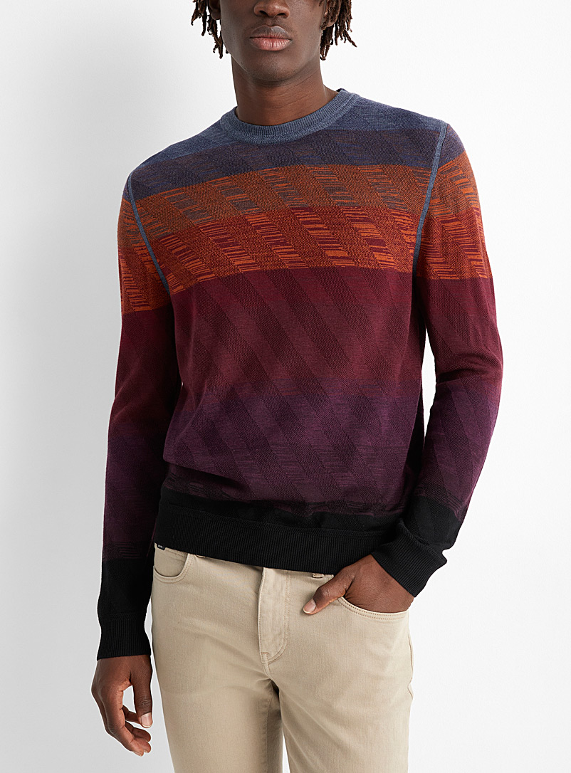 Paul Smith Mauve Diagonal stripe colour block sweater for men
