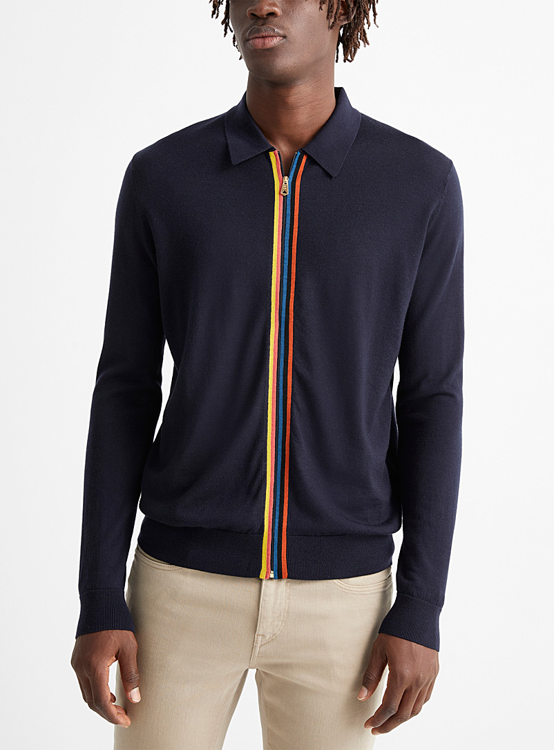 Paul Smith: Le polo tricot rayures signature Marine pour homme