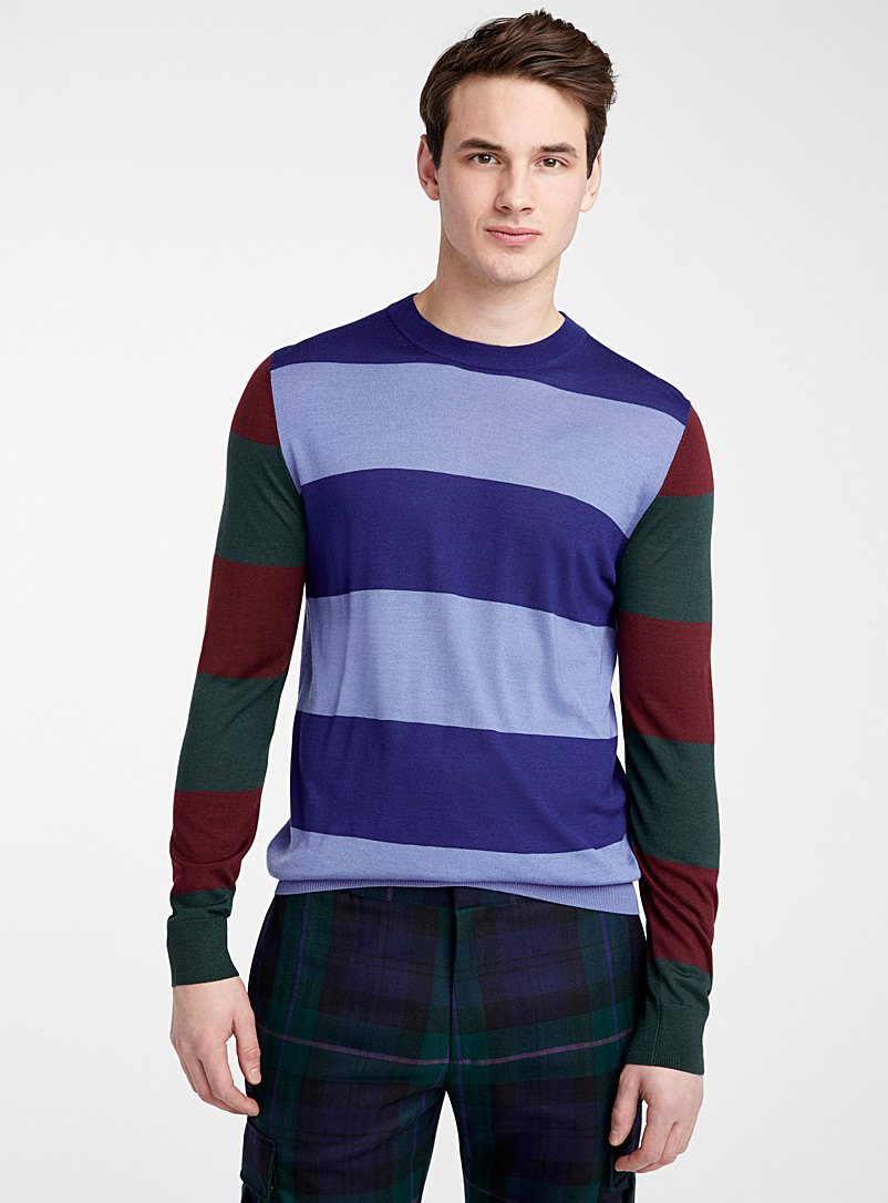Paul Smith Patterned Blue Wide stripe sweater for men