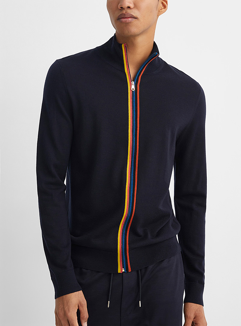 Paul Smith Marine Blue Colourful accent zip cardigan for men