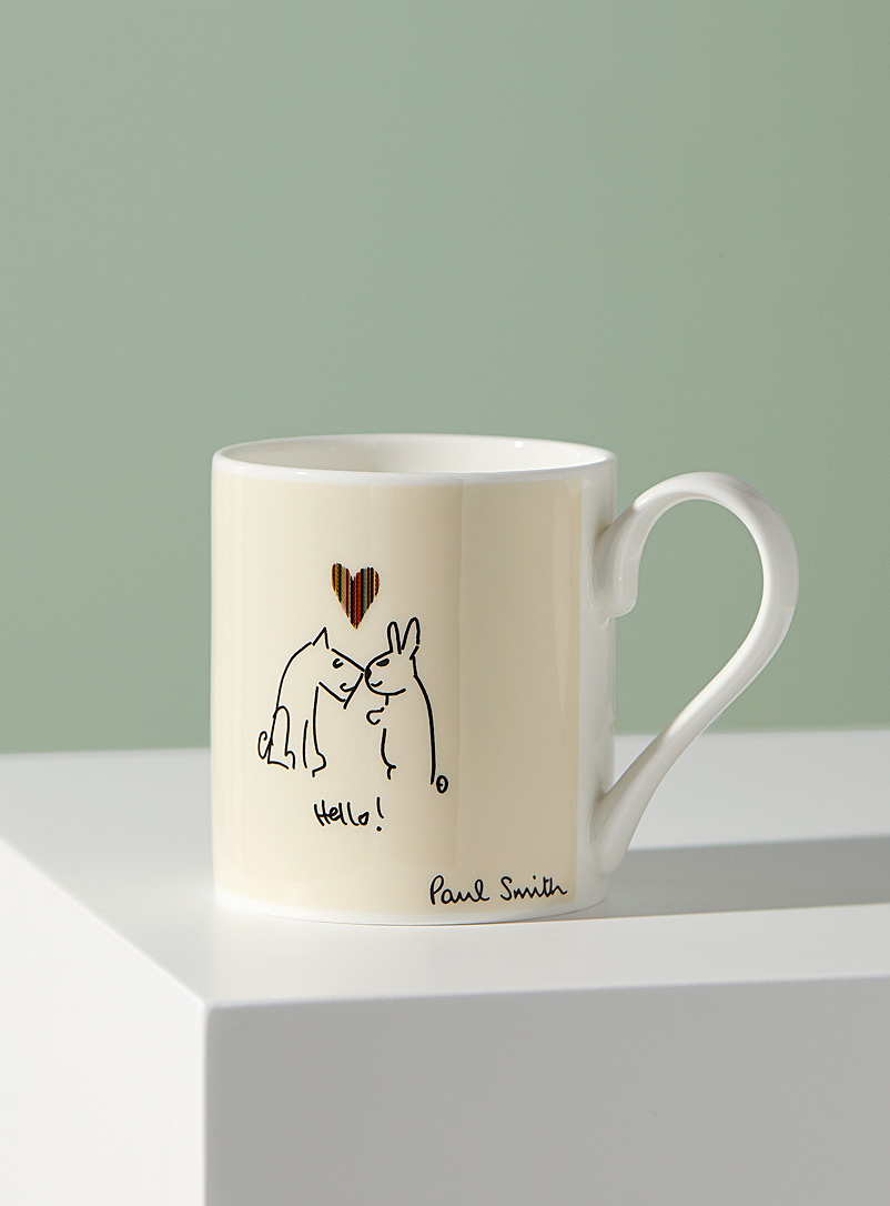 Paul Smith White Bone China illustrated mug for men