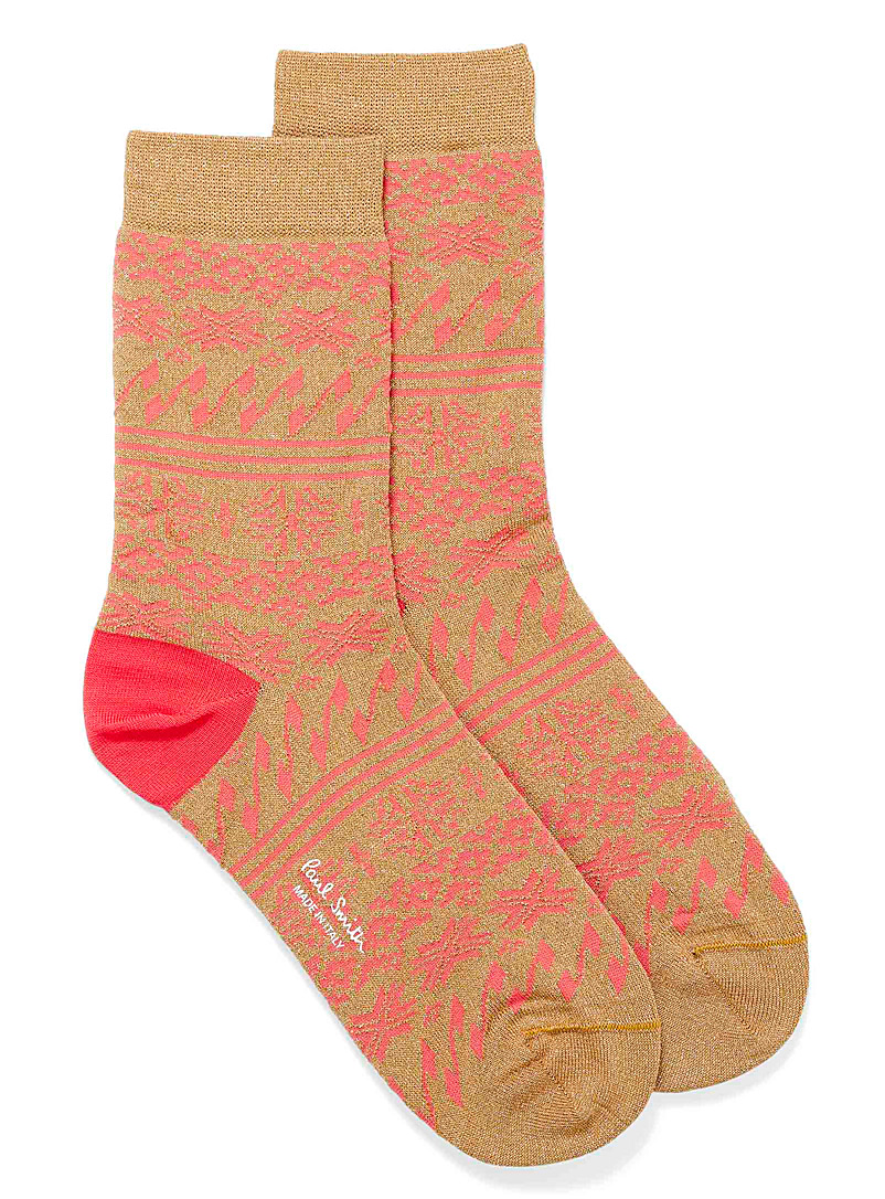 Paul Smith Assorted brown Shimmery jacquard knit sock for women