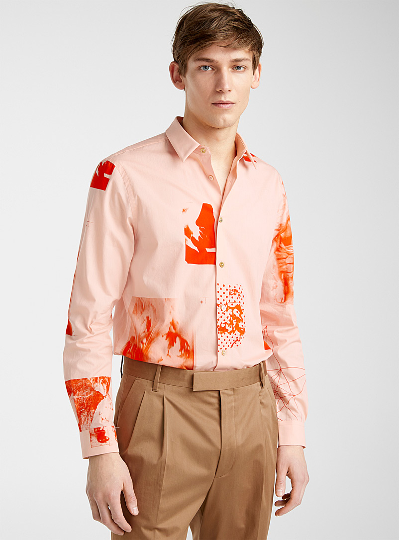 Paul Smith Pink Halftone Floral shirt for men