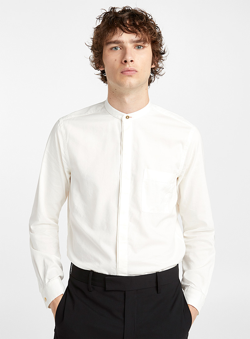 Mandarin collar dressy shirt - Paul Smith - Ivory White