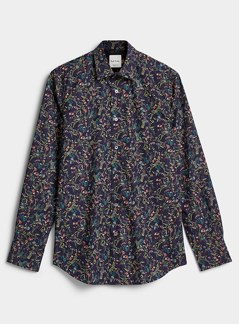 Paul Smith Patterned Blue Nocturnal flower shirt for men