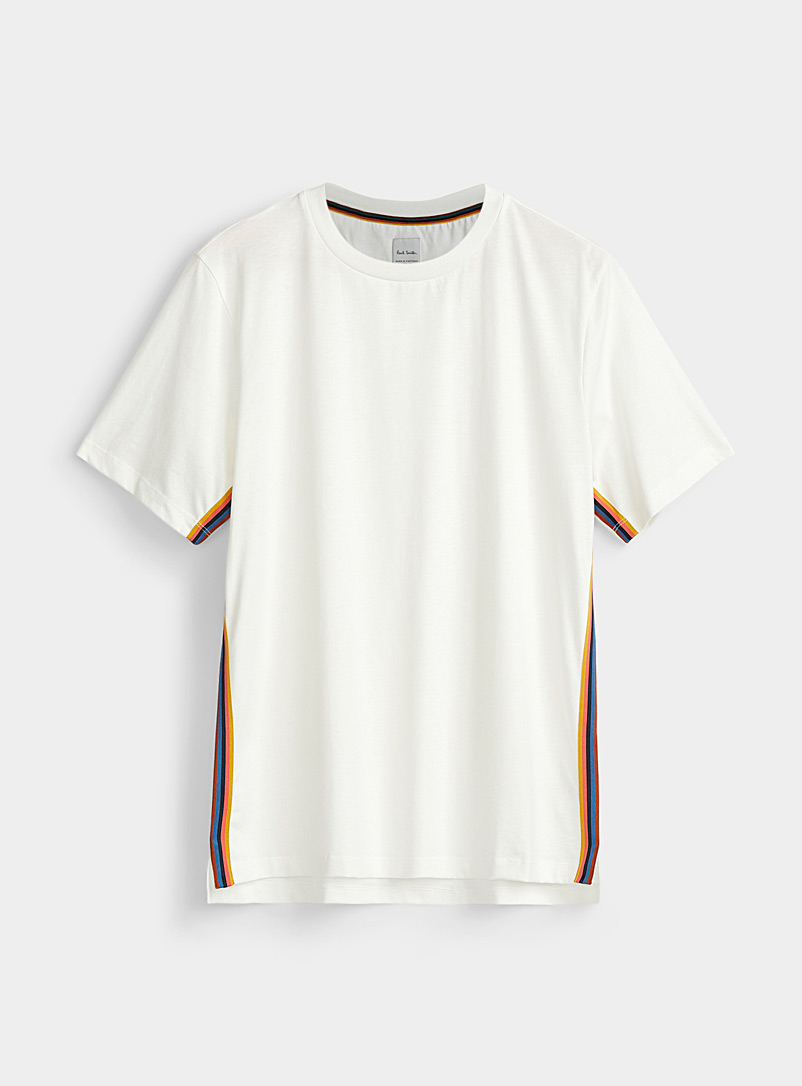 Paul Smith White Artistic stripe T-shirt for men