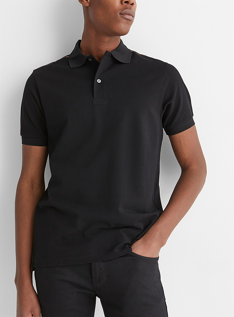 Paul Smith Black Signature stripe shoulder-trim polo for men