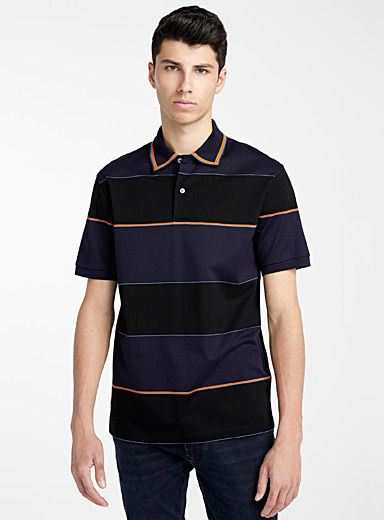 Paul Smith Marine Blue Artist Stripe trims polo for men