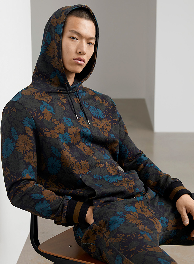 Paul Smith Brown Nocturnal floral hoodie for men