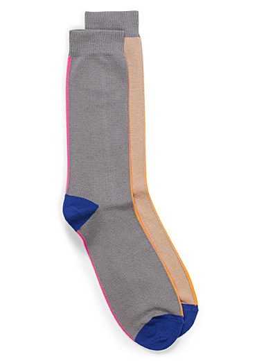 Neon vertical stripe socks