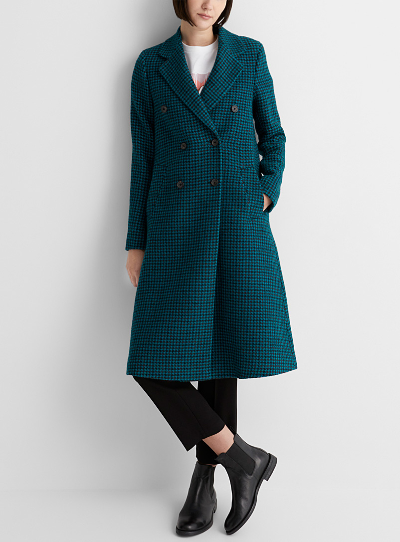 PS Paul Smith Assorted Teal houndstooth coat for women