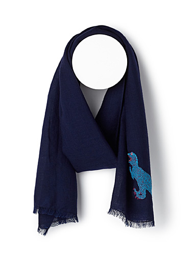 Dino embroidery scarf