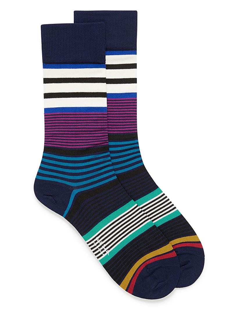 Colourful multi-stripe socks - Dressy socks - Patterned Blue