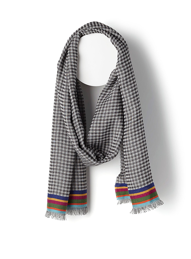 Grey gingham scarf - PS Paul Smith - Black