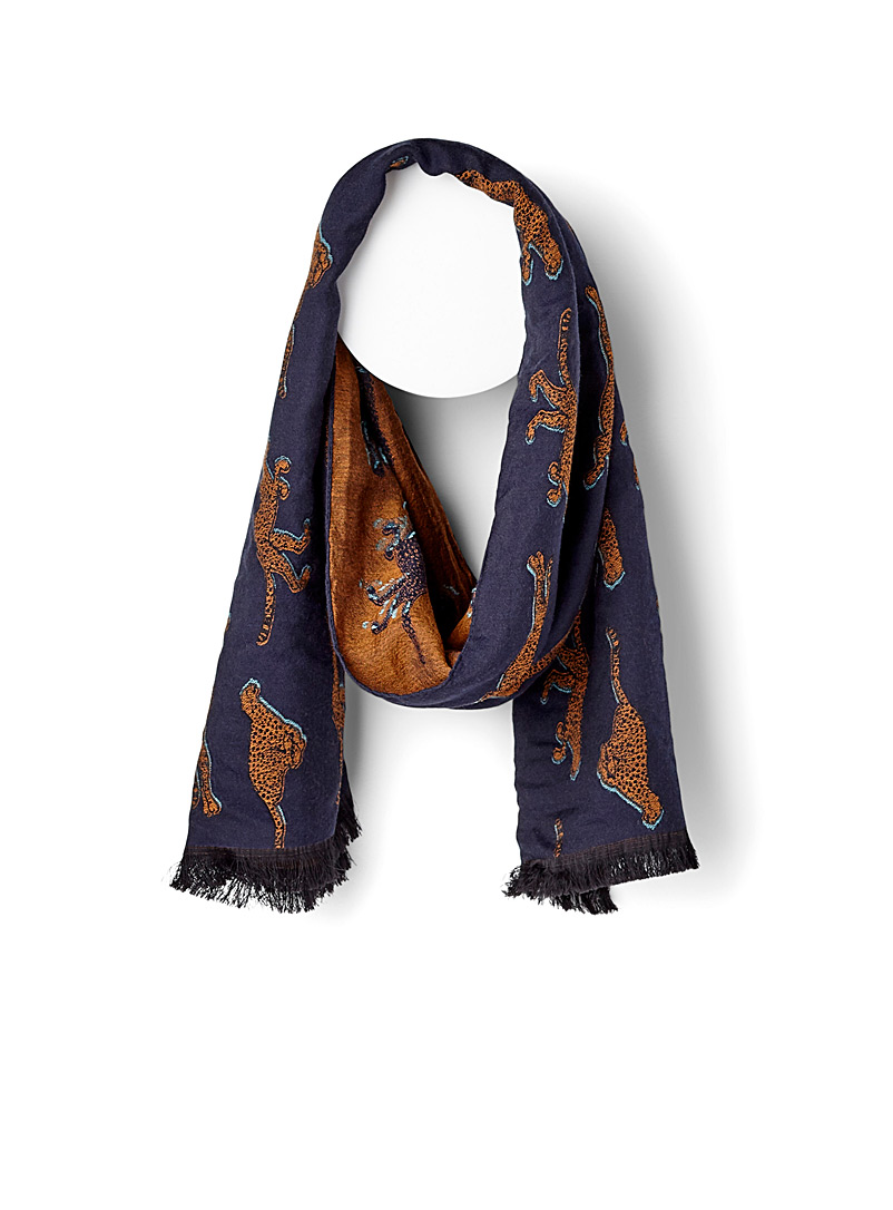 Live Faster scarf - PS Paul Smith - Patterned Blue