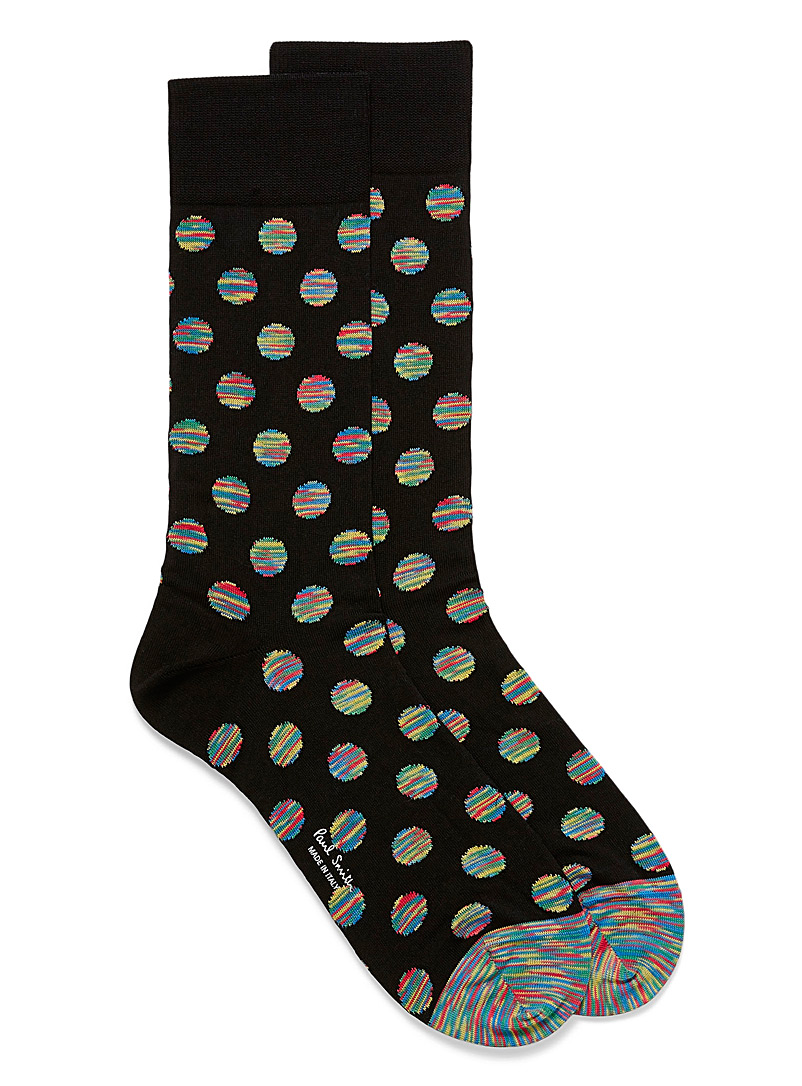 Space dye dot socks - Dressy socks - Patterned Black