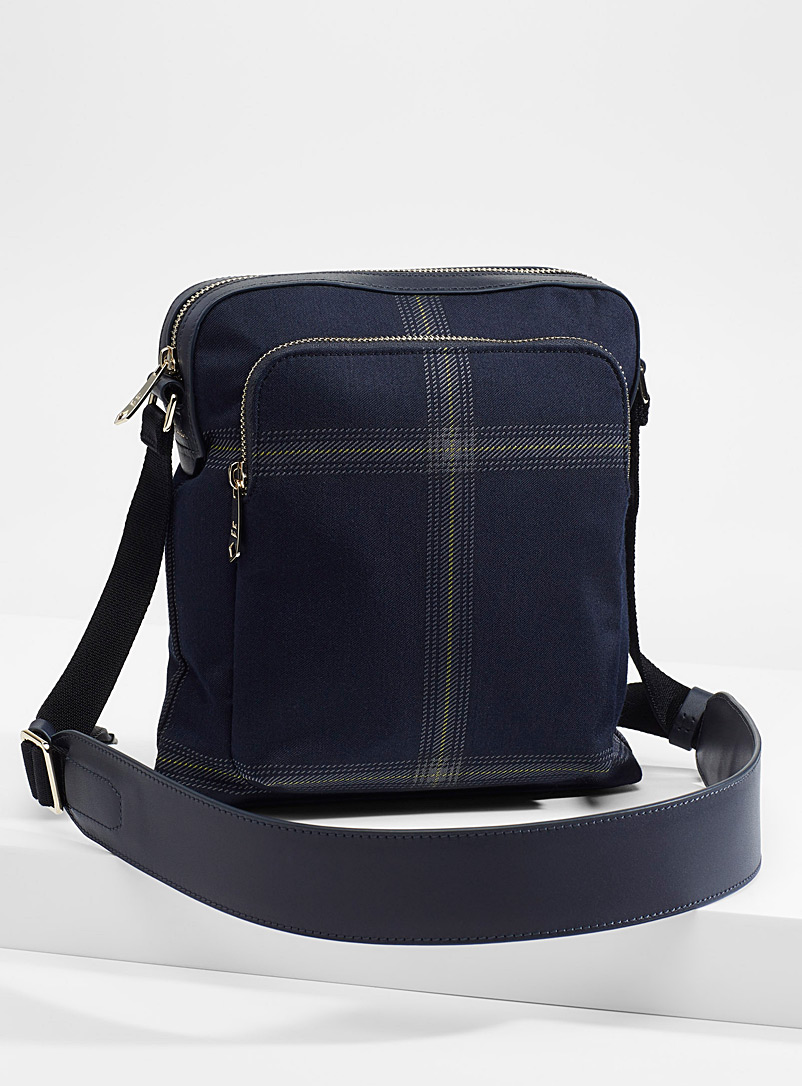Paul Smith Blue Windowpane check shoulder bag for men