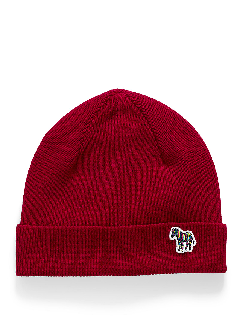 PS Paul Smith: La tuque Zebra rouge Rouge pour homme