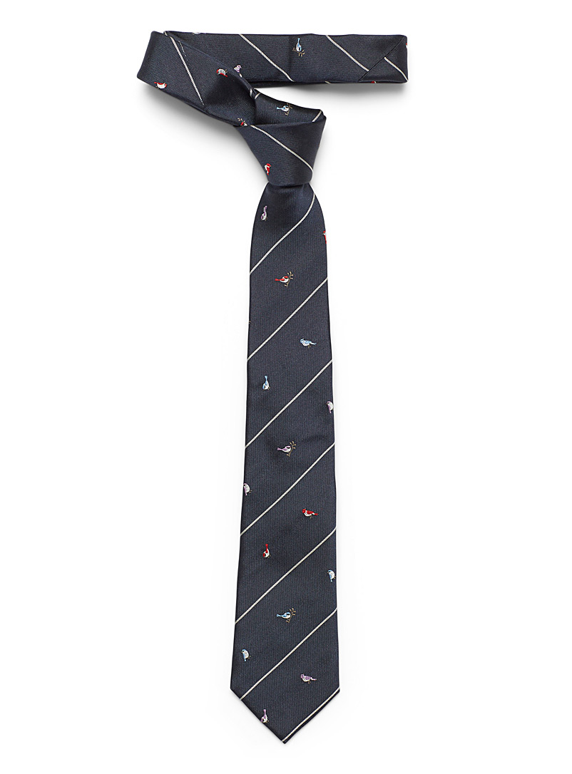 Paul Smith Patterned Blue Birds finely striped tie for men