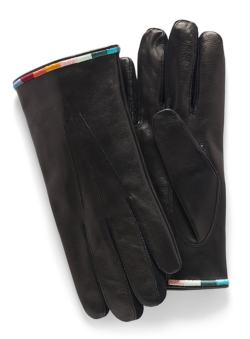 Paul Smith Black Embroidered cuff leather city gloves for men