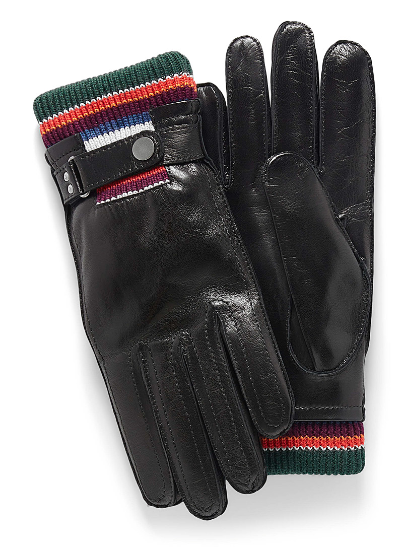 Paul Smith Black Knit cuff leather gloves for men