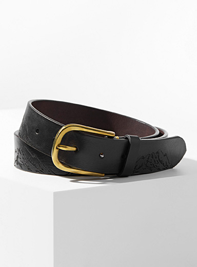 Paul Smith Brown Embossed mountains belt for men