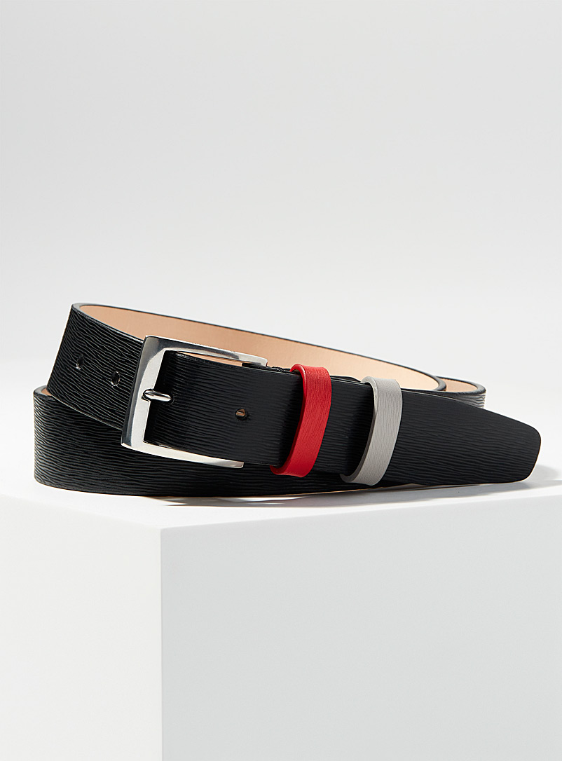 Paul Smith Black Contrast double keeper belt for men