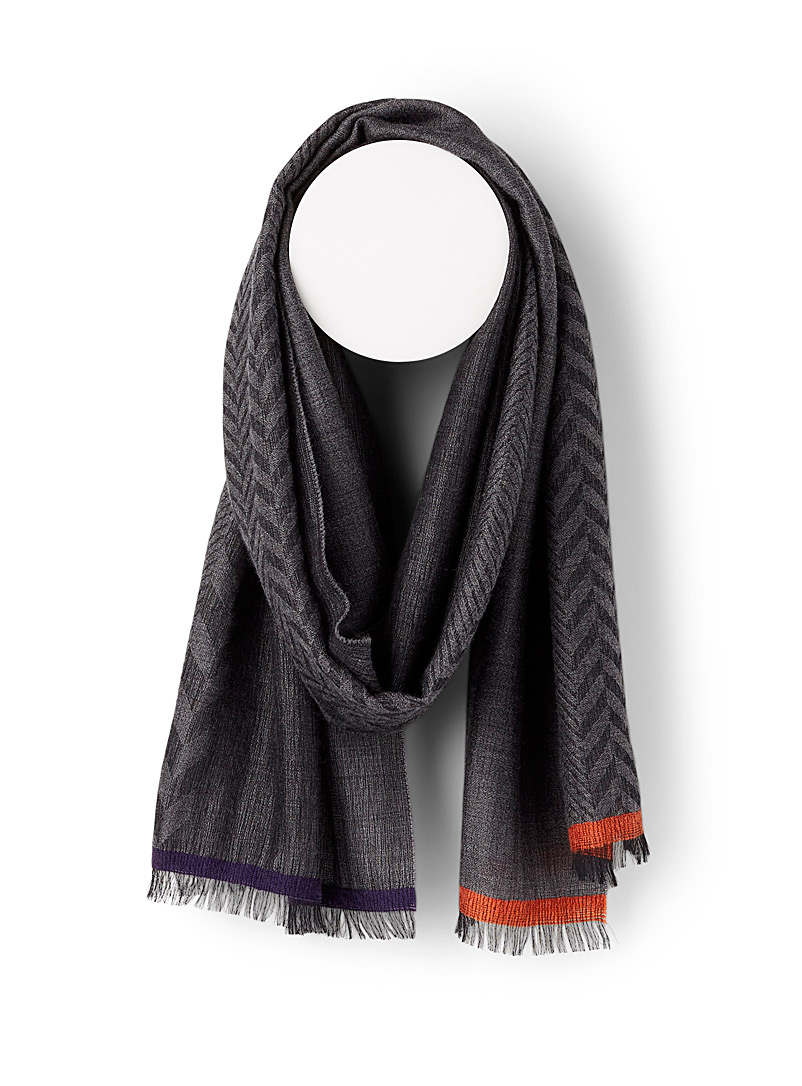 Paul Smith Grey Jacquard herringbone scarf for men