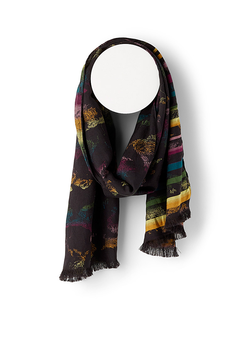 Paul Smith Black Colourama jacquard scarf for men