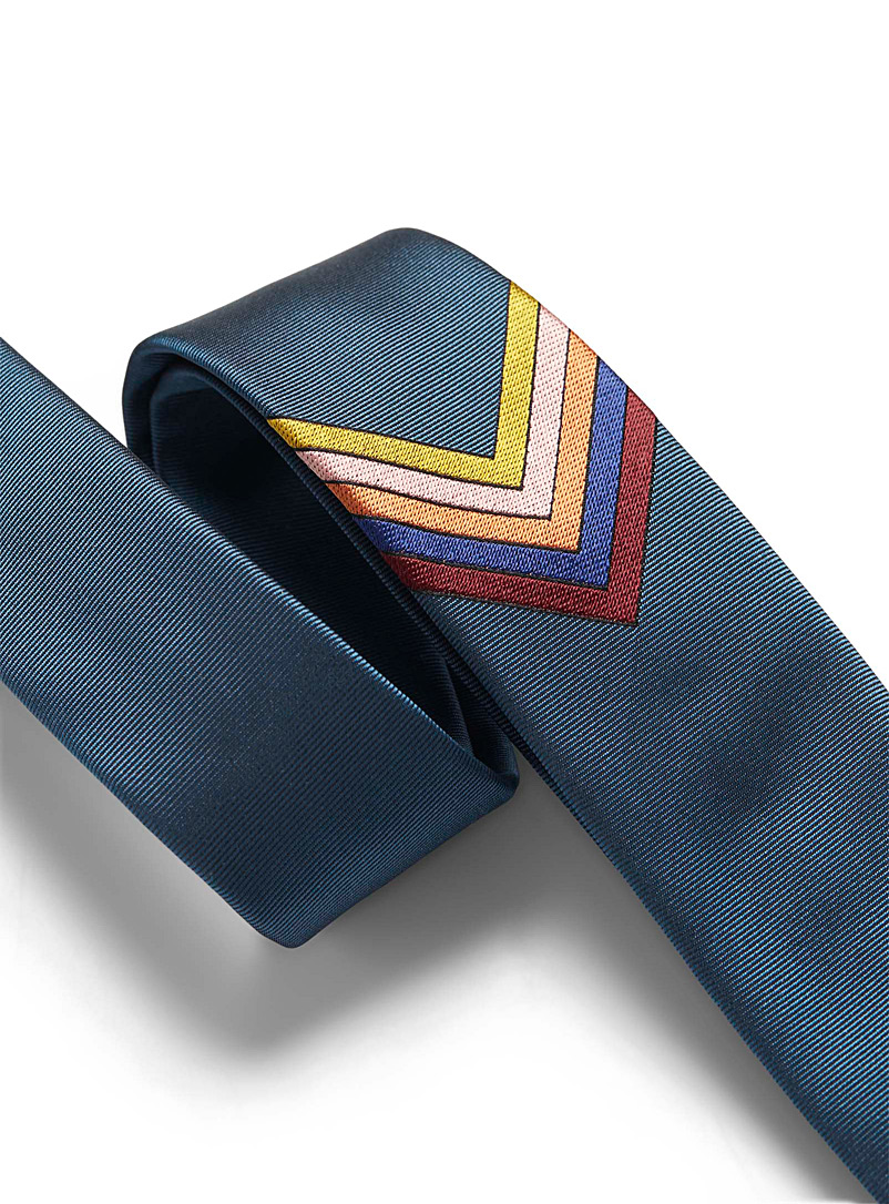 Paul Smith Teal Colourful herringbone tie for men