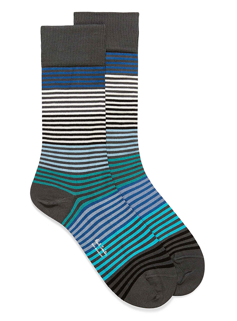 Paul Smith Patterned Grey Block stripe socks for men