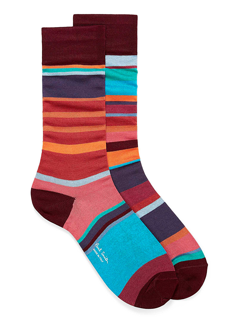 Paul Smith Ruby Red Colourful multi-block socks for men