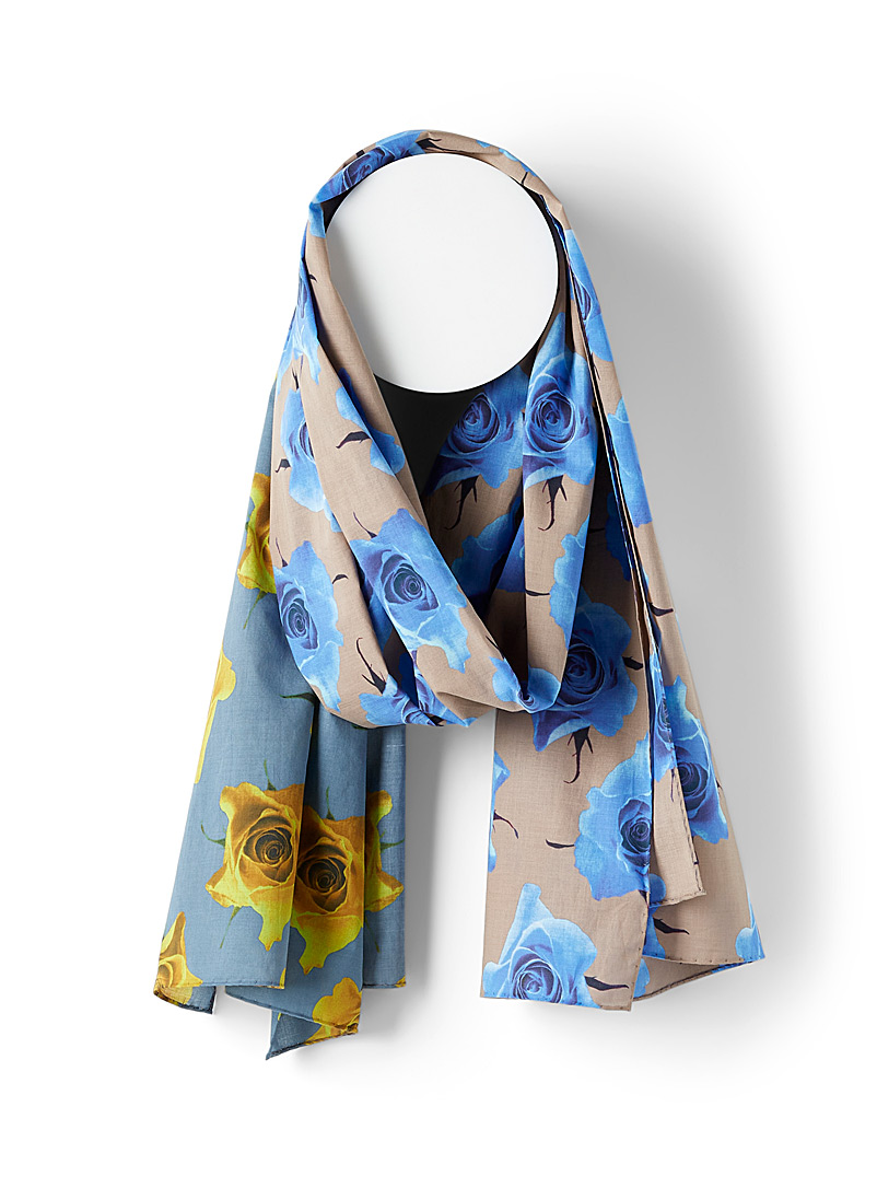 Paul Smith Blue Monarch Rose lightweight scarf for men