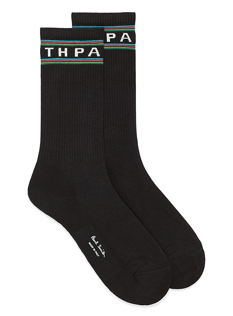 Paul Smith Black Sporty logo socks for men