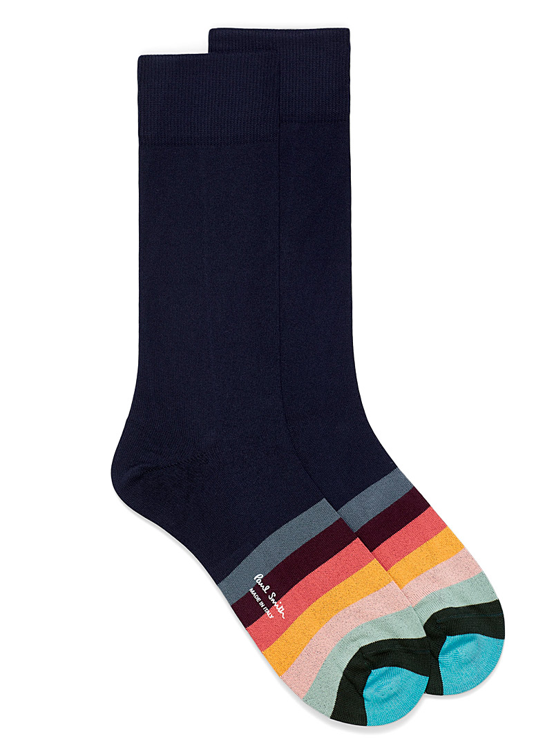 Paul Smith Patterned Blue Colour blocking stripe dress socks for men