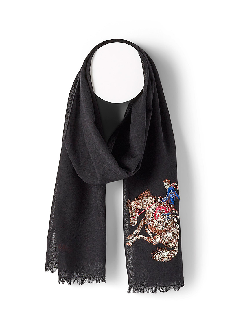 Paul Smith Black Cowboy embroidery scarf for men