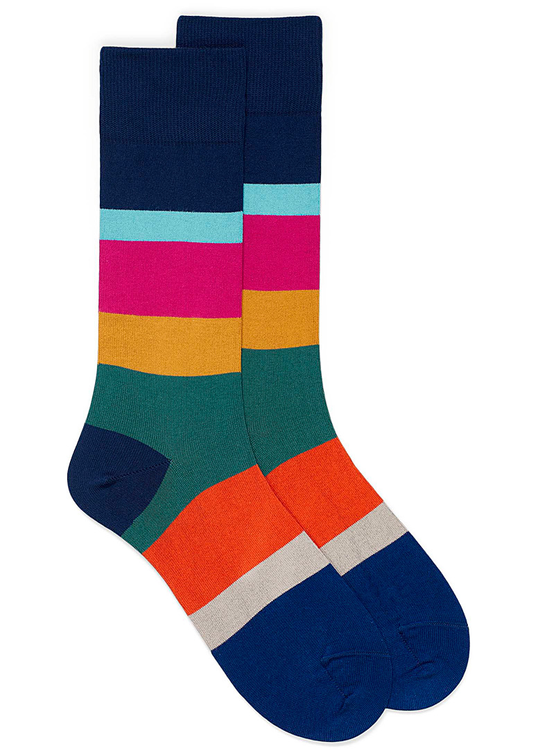 Paul Smith Patterned Blue Colourful bands dress sock for men