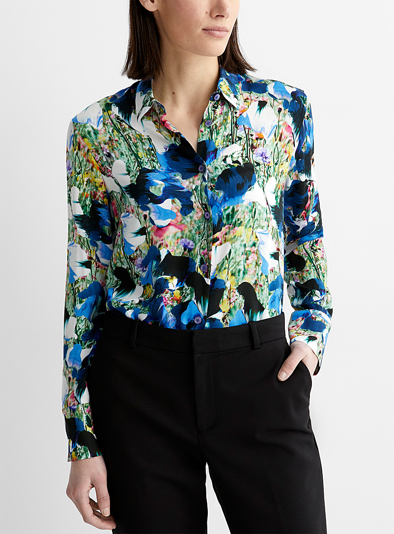 PS Paul Smith Patterned Blue Artistic flower blouse for women