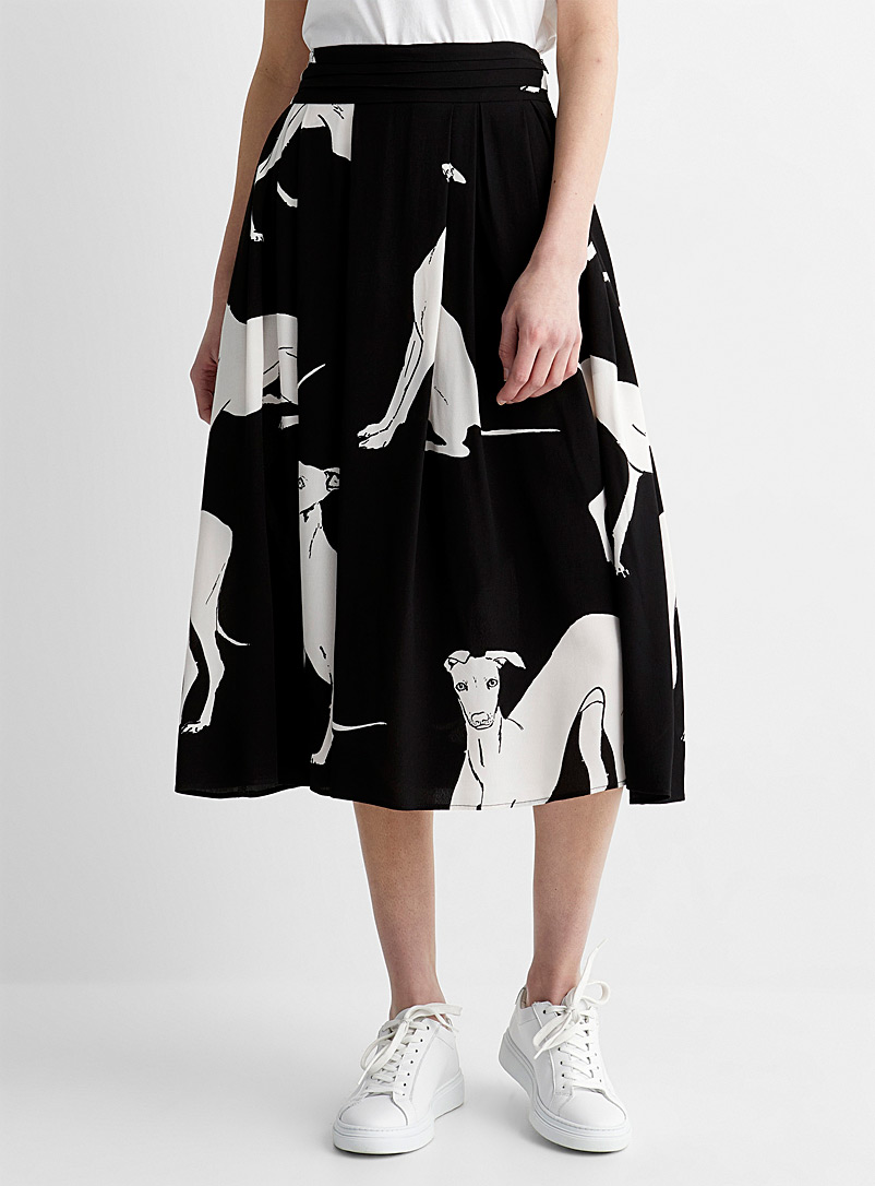 PS Paul Smith Patterned Black Italian greyhound midi skirt for women