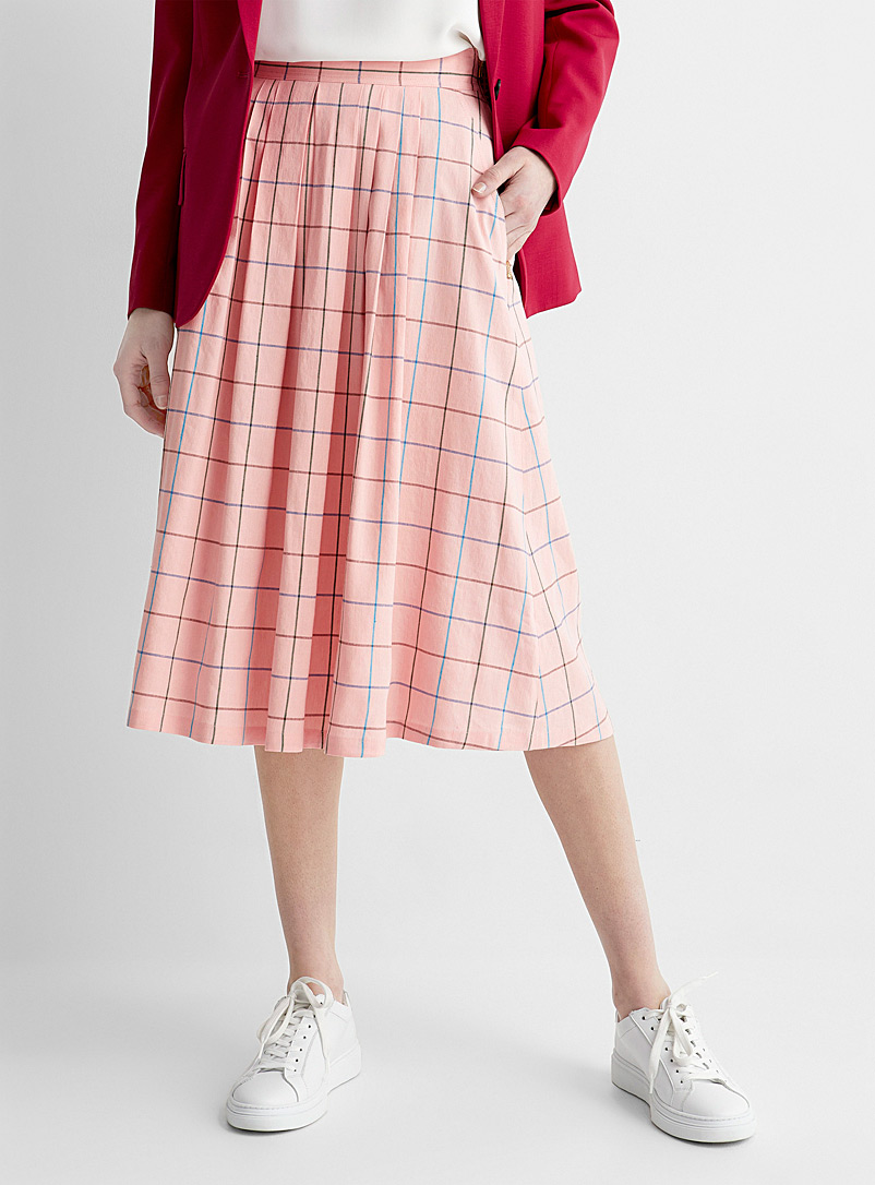 PS Paul Smith Pink Colourful windowpane check midi skirt for women