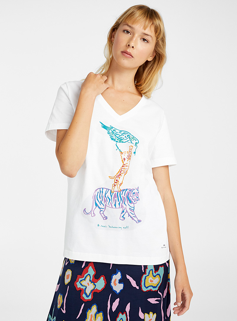 PS Paul Smith Patterned White Tigers T-shirt for women