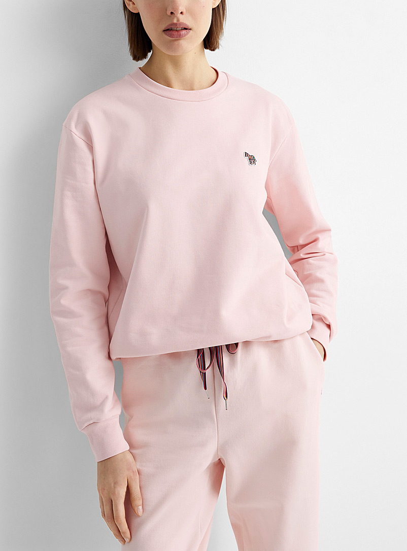 PS Paul Smith Pink Organic cotton zebra logo sweatshirt for women