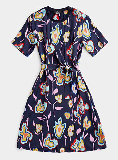 PS Paul Smith Marine Blue Heat Map Floral dress for women