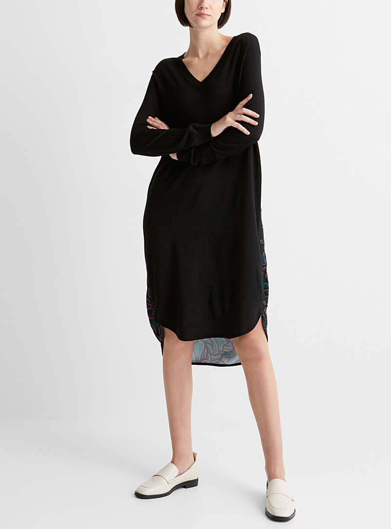 PS Paul Smith Black Nocturnal petal mixed media dress for women
