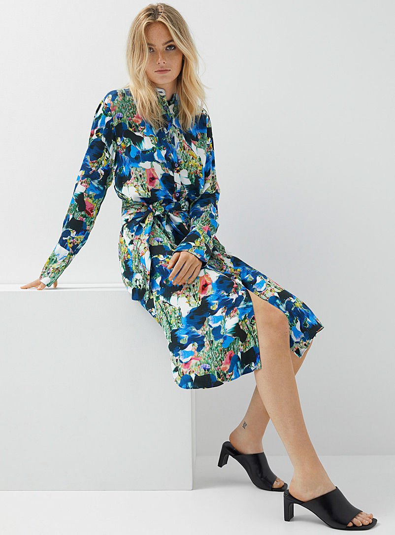 PS Paul Smith Patterned Blue Artistic flower shirtdress for women