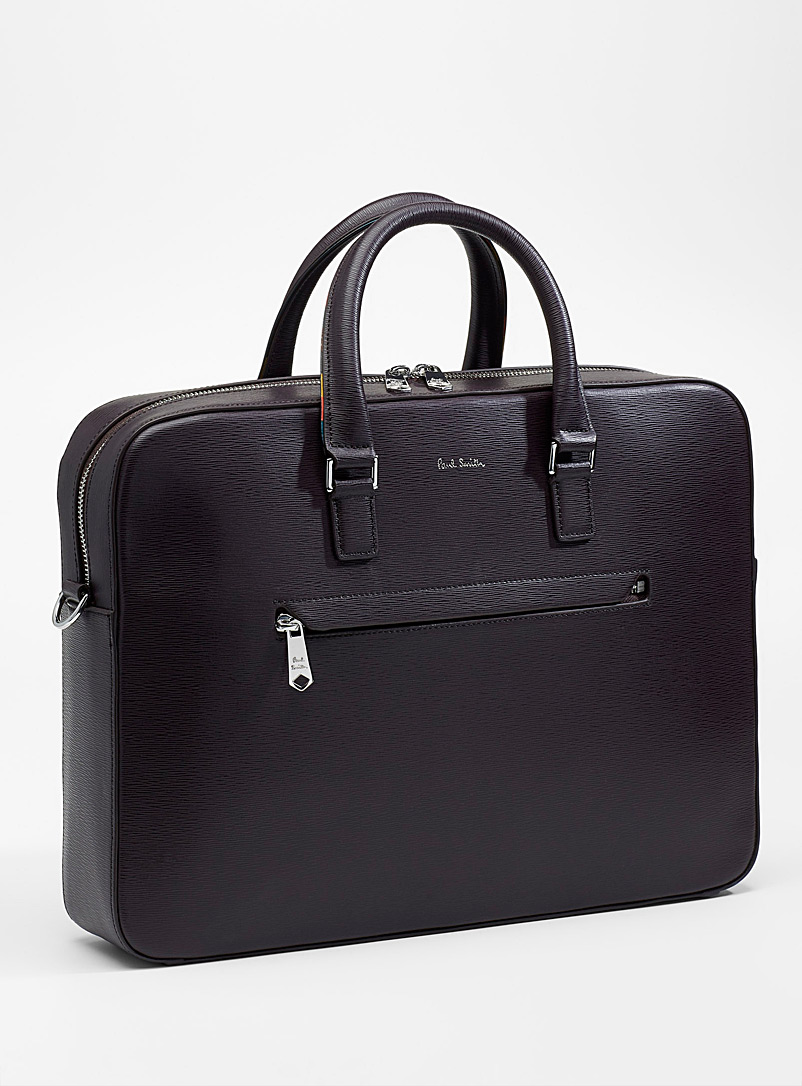 Bright Stripe briefcase - Paul Smith - Ruby Red