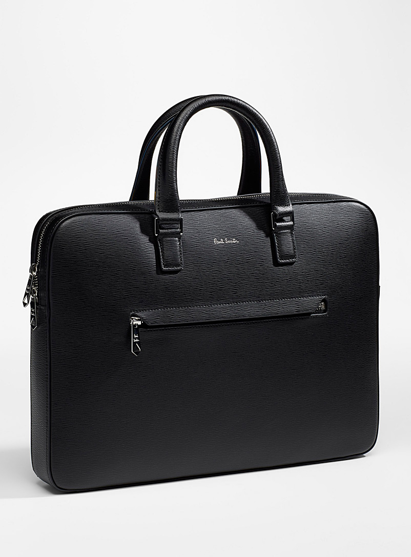 Folio textured leather business bag