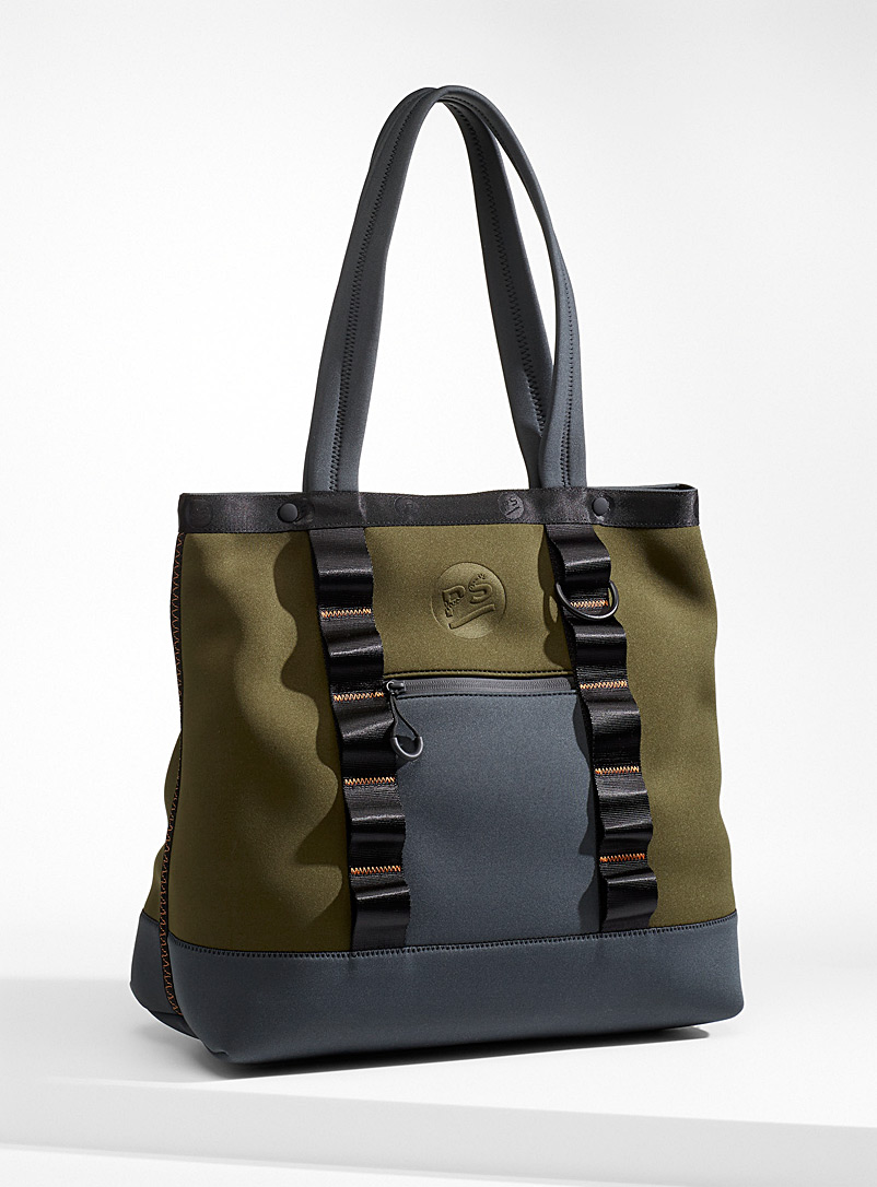 PS Paul Smith Mossy Green Topstitched neoprene tote for men