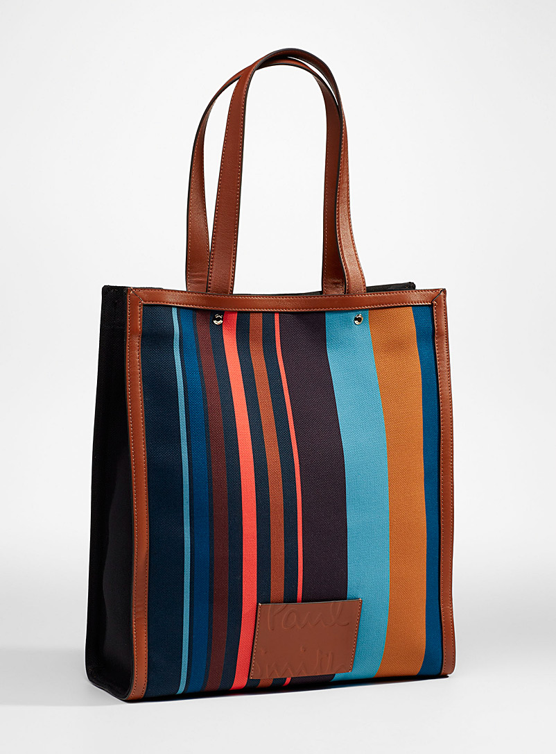 Paul Smith Assorted Signature stripe leather tote for men